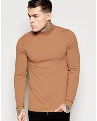 Jersey de cuello alto marrón claro de Asos
