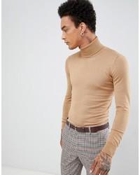 Jersey de cuello alto marrón claro de Gianni Feraud