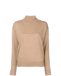 Jersey de cuello alto marrón claro de MM6 MAISON MARGIELA