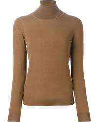 Jersey de cuello alto marrón de Salvatore Ferragamo