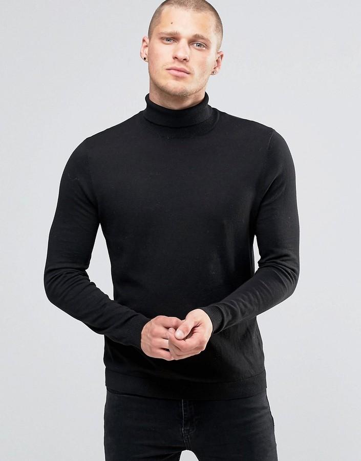 Jersey de cuello alto negro de Asos