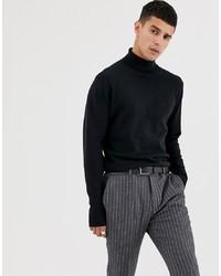 Jersey de cuello alto negro de Selected Homme
