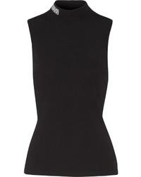 Jersey de cuello alto negro de Versace