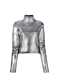 Jersey de cuello alto plateado de MM6 MAISON MARGIELA