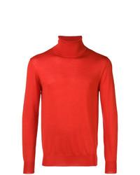 Jersey de cuello alto rojo de Jil Sander