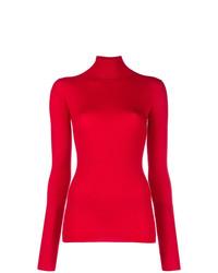 Jersey de cuello alto rojo de Jil Sander Navy
