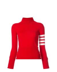 Jersey de cuello alto rojo de Thom Browne