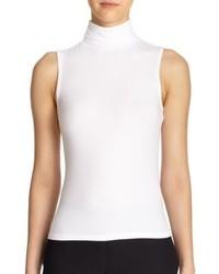 Jersey de cuello alto sin mangas blanco