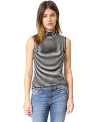 Jersey de cuello alto sin mangas de rayas horizontales en blanco y negro de ATM Anthony Thomas Melillo