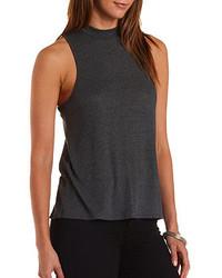 Jersey de cuello alto sin mangas en gris oscuro
