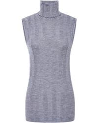 Jersey de cuello alto sin mangas gris original 10573016