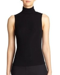 Jersey de cuello alto sin mangas negro