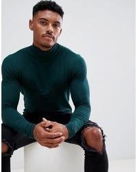 Jersey de cuello alto verde oscuro de ASOS DESIGN