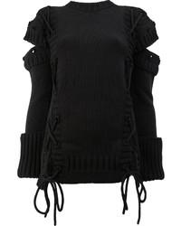 Jersey de encaje negro de Alexander McQueen