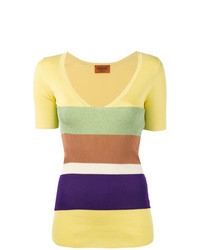 Jersey de manga corta de rayas horizontales amarillo de Missoni