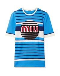 Jersey de manga corta estampado azul de Miu Miu