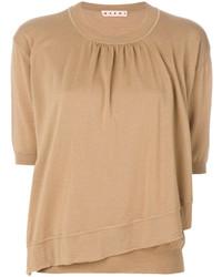 Jersey de manga corta marrón claro de Marni