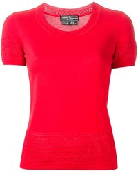 Jersey de manga corta rojo de Salvatore Ferragamo