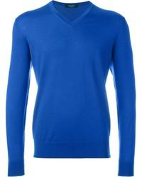Jersey de pico azul de Ermenegildo Zegna