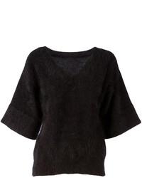 Jersey de pico de angora negro
