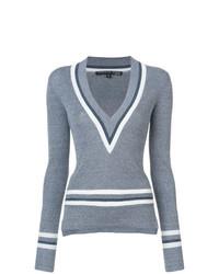 Jersey de pico de rayas horizontales gris de Veronica Beard