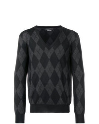 Jersey de pico de rombos en gris oscuro de Alexander McQueen