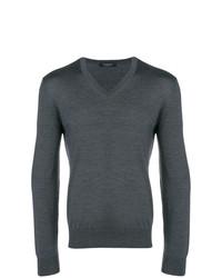 Jersey de pico en gris oscuro de Ermenegildo Zegna