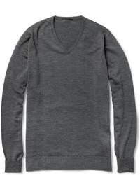 Jersey de pico en gris oscuro de John Smedley