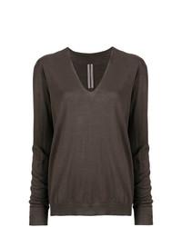 Jersey de pico en marrón oscuro de Rick Owens