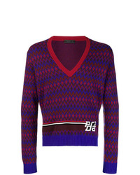 Jersey de pico estampado en multicolor de Prada