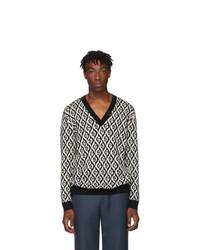 Jersey de pico estampado en negro y blanco de Gucci