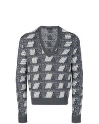 Jersey de pico estampado gris de Prada