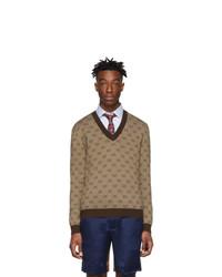 Jersey de pico estampado marrón de Gucci