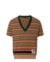 Jersey de pico estampado marrón de Prada