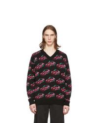 Jersey de pico estampado negro de Versace