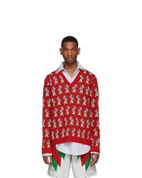 Jersey de pico estampado rojo de Gucci