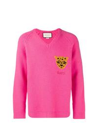 Jersey de pico estampado rosa de Gucci