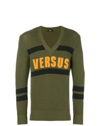 Jersey de pico estampado verde oliva de Versus