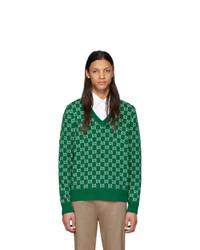 Jersey de pico estampado verde de Gucci