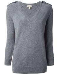 Jersey de pico gris de Burberry