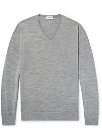 Jersey de pico gris de John Smedley