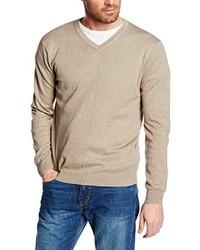 Jersey de pico marrón claro de Cortefiel