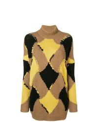Jersey oversized con estampado geométrico marrón claro de Ermanno Scervino
