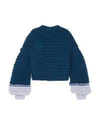 Jersey oversized de punto azul marino de The Knitter