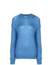 Jersey oversized de punto azul de Prada