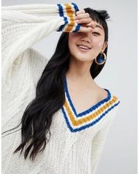 Jersey oversized de punto blanco de Monki