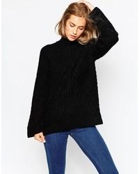 Jersey oversized de punto negro de Asos