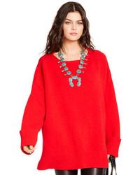 Jersey oversized de punto rojo