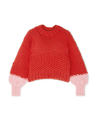 Jersey oversized de punto rojo de The Knitter