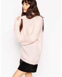 Jersey oversized de punto rosado de Asos